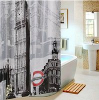 Wholesale 3D Polyester BIg Ben Waterproof Bathroom Shower Curtainse Terylene Shower bath curtains ETH029