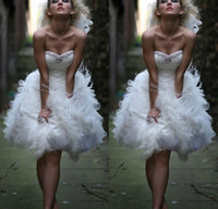 Wholesale White Feather Cocktail Party Dresses Sexy Corset Beaded Short Prom Homecoming Gowns Knee Length Ruffle Organza Women Formal Celebrity