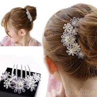 Wholesale Full Colors Crystal Rhinestone Petal Tuck Comb Women Flower Hair Pin Hair Clip Headwear Accessories NWC