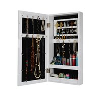 Wholesale Wooden Photo Frame Wall Mount Jewelry Cabinet Mirrored Jewelry Box Living Rome Storage Stock in US
