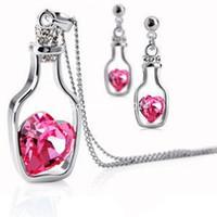 Earrings & Necklace asian bottle - Fashion Love drift bottles austrian crystal jewelry sets pendants necklace and earrings z077