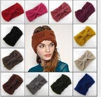 Wholesale Stylish new elastic crochet headbands inch hot womens Winter Crochet Flower Bow Knitted Head wrap womens Headband Ear Warmer colors
