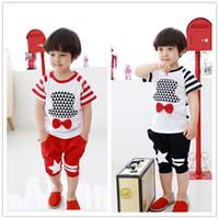 Wholesale 2015 New Boys Clothing Sets For Summer Korean Fashion Stripe TShirt Short Pants Children Clothes Sets Pure Cotton Kids Suits T69