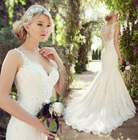 Wholesale Cheap Plus Size Lace Mermaid Wedding Dresses Crystals Applique V Neck Spaghetti See Through Back Court Train Bride Bridal Gowns