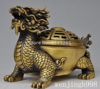 Wholesale Christmas gifts quot Chinese Folk Buddhism Temple Brass dragon turtle Statue incense burner censer