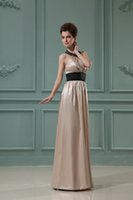 art deco gifts - 2016 New Year Gift Halter Beads Black Sashes Waist Floor Length Sexy Back Sheath Satin Champagne Evening Dresses High Quality Customization