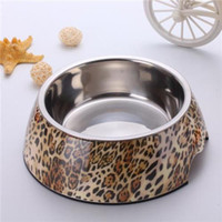 Bowls, Cups & Pails melamine dog bowl - Pet Food Bowl Leopard Pattern Melamine Stainless Steel Dog Bowls High Quality Personalised Dog Bowls Three Size BL002