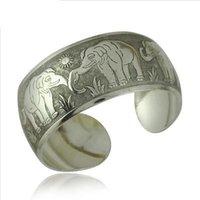 antiques thailand - Tibetan jewelry silver elephant Bangles Antique silver long nose elephants bracelet bangle for women thailand silver infinity Bangle B0192