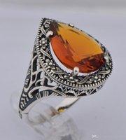 ancient ring designs - 925 sterling silver ancient silver teardrop shaped topaz stone ring international fashion design wedding ring Austria gem ring