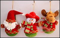Wholesale Christmas tree Decorations Cute Cartoon Santa Claus Snowman Reindeer dolls pentants tumbler shape cloth doll kids gift J102202 EMS FREESHIP