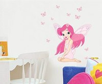 Wholesale JM Fairy Princess Butterfly Pink Fairy Wings Gorgeous Butterfly Removable Wall Stickers Fancy Home Decoration