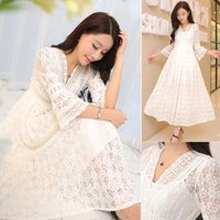 bell evening dresses - Elegant Womens Ladies Full Crochet Lace V Neck See Through Shoulder Flare Half Sleeve Party Ball Gown Evening Maxi White Dresses