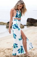 Cheap 2015 New WomenDresses Split Elegant Long Skirts2 PiecesSet Backless Crop Tops Halter Cross MaxiDressFlower Print Boho Style SV022371