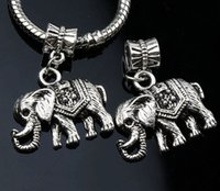 big mammoths - 24x30 mm Antique Silver Deluxe Saddle Mammoth Elephant Metal Big Hole Beads Dangle Fit European Charm Bracelets B1187