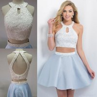 beautiful cross pictures - Beautiful Homecoming Dresses Halter Open Back Sweet Sixteen Dress Short Two Pieces Prom Party Gowns With Beads Taffeta Fall Party Dress