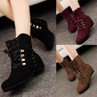 Wholesale Womens Western Boots Faux Suede Lace Up Cleated Spike Cowboy Boots Fashion Flats Boots Casual Ladies Shoes W2063