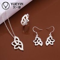 Wholesale 925 silver necklace earring ring set S483 bulk sale cheap party jewelry sets