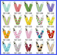 Wholesale 37style Baby appease Pacifier Clips kids toddlers candy colored double sided tape forging Pacifier Clips baby pacifier anti out belt