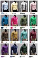 Wholesale 2016 HOT sale Men s candy colored long sleeved shirt Slim shirt men fashion business shirt men clothing