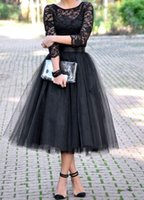 Wholesale Sheer Long Sleeve Tutu Skirt Party Dresses A line Tea Length Zipper Black Appliqued Tulle Formal Prom Cocktail Gowns