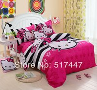 Cheap Pink stripe cartoon bedding sets 4pcs 100%cotton duvet quilt bed linen cover for king queen size hello kitty kids bedclothes