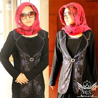 women islamic clothing - Plus Size Mock piece Tops black Blouse with a of hot fix glittered stone Islamic clothing Classic Muslim design for women