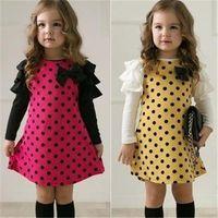 Cheap NEW Casual Korean Style Girls Polka DOT Princess Long Sleeve Dress 2 7Y Clothes free shipping