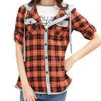 al por mayor mujeres camiseta de la tela escocesa-S5Q Mujer de manga larga clásico de señora Casual Cheques Plaid Hoodies Shirts blusa superior AAAEXD