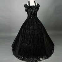 belle wedding gown - Vintage Black Lace Ball Gown Gothic Wedding Dresses Lolita Victorian Dress Halloween Southern Belle costume for women Christmas