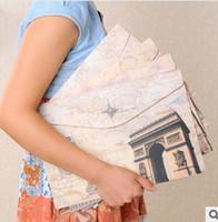Wholesale Randomly Send Korean Vintage World Attractions Print A4 Document Bags Paper Pouch Bag VQB63