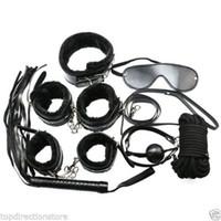 Wholesale Black Kit Bondage Set Whip Ball Handcuffs Footcuffs Rope Neck Collar Mask