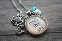 Wholesale Little Mermaid amp quot Inspired Necklace Under The Sea Charm Pendant Silver colored