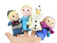 Wholesale 4pcs set New Frozen Finger Puppet Set of Four Stuffed Toys Finger Dolls Baby Toys Olaf Kristoff Anna Else Plush