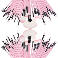Wholesale 32Pcs Professional Charming Pink Makeup Brushes make up Cosmetic Brush Set Kit Tool Roll Up Case F009