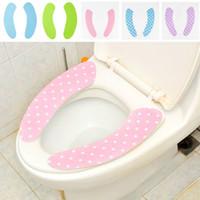 Wholesale Paste Stickup Dots Pattern Warm Velvet Plush Toilet Seat Cover Mat Bathroom Products Drop Shipping HG
