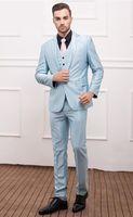 baby dinner jacket - 2015Custom Made Slim Fit Groom Tuxedos Notch Lapel Men s Suit Baby Blue Groomsman Wedding Dinner Suit Jacket Pants Vest tie Free Shiping