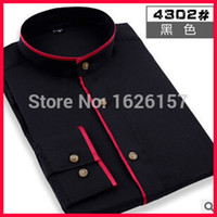 bargain designer dresses - Bargain Price Mens Designer Clothes Long Sleeve Shirt Men Patch Color Round Collar Men Wedding Shirts Formal Shirts