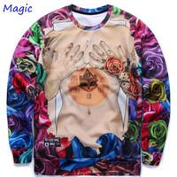 Cheap w1218 [Magic] Harajuku style women men 3D sweatshirt print colorful Roses flowers Sexy tattoo Naked hoodies casual autumn tops GUGU24