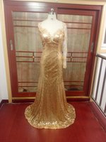 une manche en dentelle en or achat en gros de-Elegant One Shoulder Long Sleeve Lace Sequin Mermaid Robe de soirée 2016 Sheer Back Robe de soirée Gold Color
