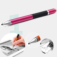 Wholesale 2 mm fine tip high precision metal touch ipad stylus pens capacitive for cell phone and tablet with ball pen