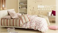 beige color combinations - SUNA Beige stripes pink flowers combination Twill printed cotton Bedding set A B layout For the queen size bed