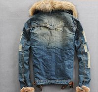 Wholesale Fall Winter Denim Jackets For Men Male Fur Collar Plus Thick Velvet Hooded Jeans Outwear Coat Roupas Masculinas J176