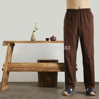 Wholesale Black Traditional Chinese Men Cotton Kung Fu Pant Traditional Martial Arts Tai Chi Trousers Casual Pants colors Size S XL