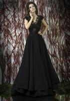 Wholesale 2015 New Arrival Black Prom Dresses Backless Long Evening Gowns Formals Dresses Elegant Appliques A Line V Neck Party Dresses for Women Ady1