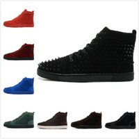 Wholesale 2015 New Men Women Suede With Spikes Lace Up High Top Red Bottom Sneakers Lovers Designer Luxury Genuine Leather Casual Shoes