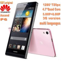 Wholesale Huawei Ascend P6 U06 Original Quad Core GHz GB RAM G ROM Inch IPS Screen Slim Android Phone Wifi Russian