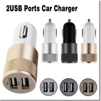 Wholesale 2 A A Aluminum USB Ports Universal USB Car Charger For iPhone For ipad For Samsung Galaxy S4 S5 note