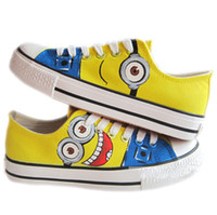 Wholesale Brand New cartoon anime figure despicable me minion shoes Couples hand painted shoe women and men casul canvas sneakers