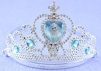Wholesale Children frozen anna elsadress Elsa Anna princess crowns hearts tiara baby party hair accessories pageant hairbands gift