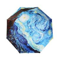 anti uv coating - Van Gogh Masterpiece Oil Painting inch Triple Folding Umbrella Anti UV Parasol Sunny and Raining Umbrella